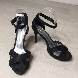 Fioni Heels Sz 7.5 Black Glitter Sparkly Stilettos